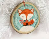Woodland Fox Ornament,Holiday Gift,Fox Ornament,Woodland Ornament,Woodslice Ornament,Fox Painting,Woodland Animal,Handmade Christmas