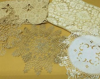 Antique Lace and Tatting Lot of 5 Doily Table Runner
