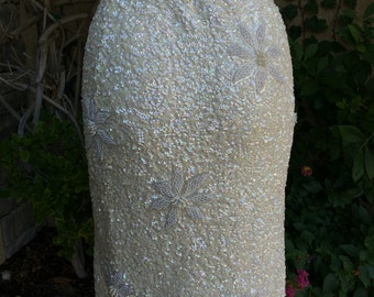 1950s 1960s Gene Shelly's Boutique Internationale California cream sequins beaded sweater knit skirt size XS S