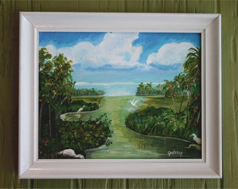 Marsh Birds Original Acrylic Framed Painting Florida Water