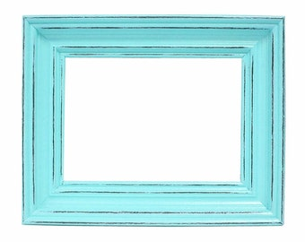 Shabby Chic Picture Frames Distressed Rustic Wood Picture Frame 5x7 Turquoise Blue & Custom Colors Home Decor Beach Decor Nursery Decor