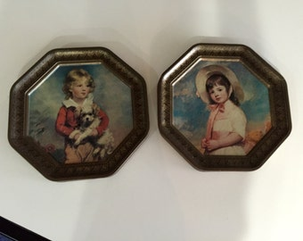 Hexagon Shaped Vintage Tin Pictures/Metal Picture/ Cookie Tin Tops/Pair By Gatormom13