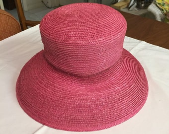 Vintage Woven Eric Javits Pink Squishee Hat/ Mid Century Hat/ Pink Hat/ Formal Hat/ By Gatormom13  JUST REDUCED