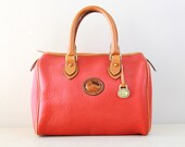 Vintage Dooney and Bourke Red Pebble Leather with Tan Leather Trim Boston Bag, Vitnage  Dooney Leather Boston Tote Bag