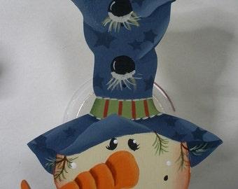 Tall Blue Hat Snowman Ornament