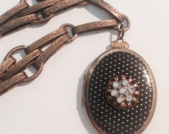 1900's Diamond-Studded & Enameled ART DECO Locket with Antigue Brass Necklace, So Unique and Gorgeous -- Flapper-Era Statement Jewelry!