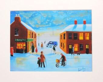 "Print titled ""I think my bike is broken"" winter street scene Gordon Bruce art"
