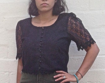 80s Black Lace Soft Grunge Steam Punk Victorian Corset Buttoned Cropped Blouse size XL