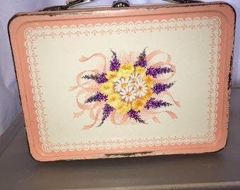 vintage metal lunch box LB lunchbox thermos corsage flower