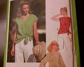 Vintage 1978 Misses Sewing Pattern, Pullover Top, Simplicity 8587, Size 10 Miss, Women's Clothing, Front Side Tie, Casual, Spring, Summer