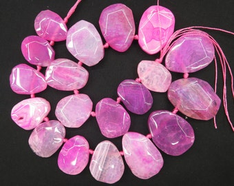 Top Drilled Hot Pink agate Teardrop slab Beads 27x38mm to 20x25mm- 19pcs/str