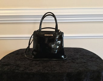 Nine West Small Black Patent Handbag (Fuschia Interior)