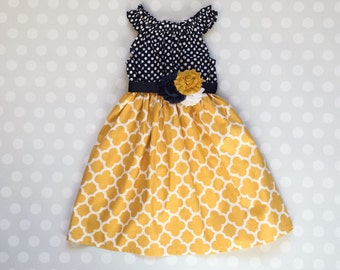 Navy and Mustard Girl's Spring Dress - Baby Girl Dress - Girls Dresses - Spring Dresses - Sleeveless Dresses - Summer Dress - Girls Dresses