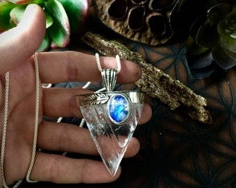 Artemis- Large Selenite and Moonstone Necklace