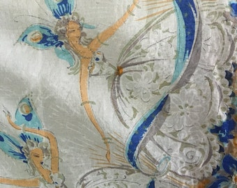 DANCING butterfly or FAIRY ladies - SILK scarf - blues - oranges - whites - beautiful - flowers