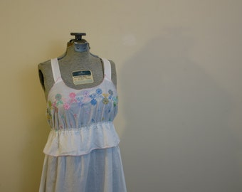 Night gown long sleep dress summer cotton embroidered ruffle S