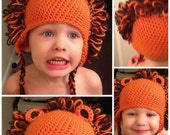 Crochet Lion hat with earflaps, maned cat hat, newborn to adult