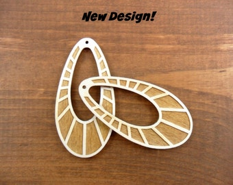 """10 Etched Wood Earring Teardrop Shapes 3"""" H x 1 1/2"""" W x 1/8"""" Unfinished Laser Cut Pendant Jewelry"""