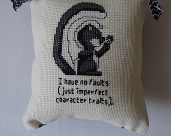 Cross stitch pillow, shelf sitter pillow,  pillow with humor, door knob hanger, friend, small pillow, home decoration