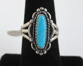 Turquoise & Sterling Silver Ring - Vintage Unused w/ Tag, Size 6