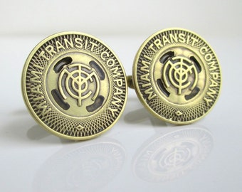 MIAMI Transit Token Cuff Links - Vintage, Gold Tone Repurposed Coins