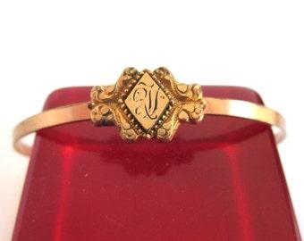 Antique Gold Filled Bangle Bracelet - Small Size w/ Adjsutable Slide