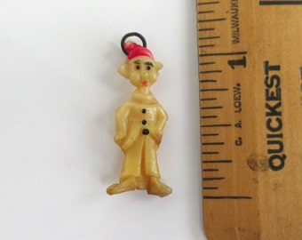Dwarf Character Celluloid Charm - Vintage Painted w/ Metal Ring