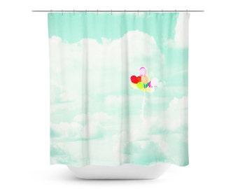 pastel bathroom decor mint shower curtain kids bathroom decor spring home decor