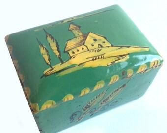 vintage Italian ceramic box turquoise handpainted