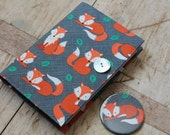 Fox - small notebook & mirror set in cute fox print fabric.  Removable cover