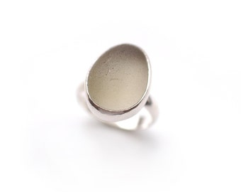 Pale Olive Grey English Sea Glass Ring Sterling Silver Size 7 1/4 or Larger