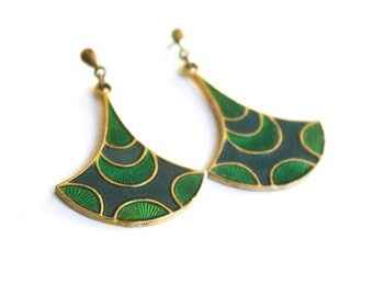 Green Polka Dot Enameled Earrings