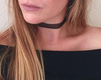 Black Sheer Ribbon Choker With Lobster Clasp, Fashion Choker Necklace, Black Choker