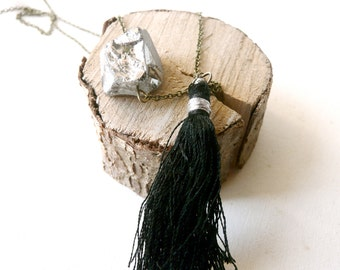Necklace pendant pyrite and black ponpom ( grey, magic, curse ) 01