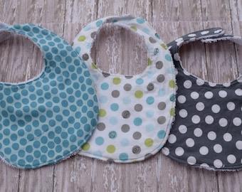 Terrycloth Baby Bib Set - 3 Polka Dot Bibs