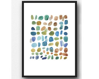 Summer sale | watercolor art print pebbles art | watercolor painting | beach house decor