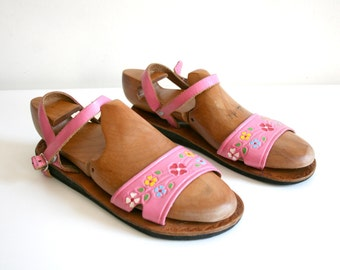 Pink Flower Handmade Leather Sandals 7.5