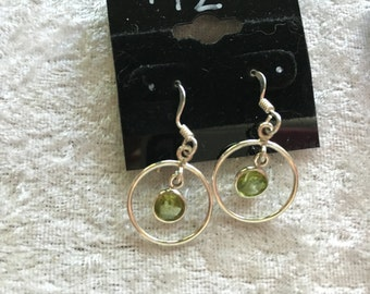 Peridot Earrings, Dangle Earrings, Small Earrings, Green Earrings, Round Earrings, Birthstone Earrings, Sterling Silver, Peridot jewelry