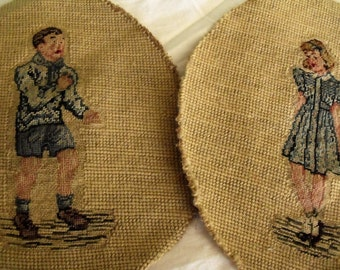 Vintage Needlepoint Tapestries/Wool/Set of Two