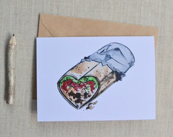 Burrito Love Hand-Painted Watercolor Burrito Greeting Card; Valentine's Day Card
