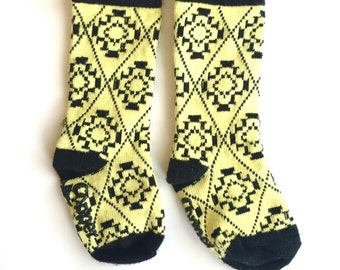 SALE! Baby and toddler knee high socks, Baby socks Boot Socks in Yellow and black aztec baby shower gift baby gift nordic patterned socks