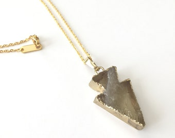 "Druzy Arrowhead Necklaces dipped in 18k gold 16"" gold chain Amber stone genuine stone bohemian jewelry"