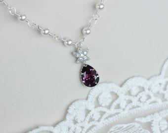 Starfish Necklace,CZ Starfish, Swarovski Pearls and Amethyst Swarovski Crystal Teardrop ,Bridal Bridesmaids Necklace,Beach Wedding Necklace