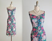 50's Frank Starr Dress // Vintage 1950's Floral Print Cotton Rhinestone Fitted Cocktail Party Dress M