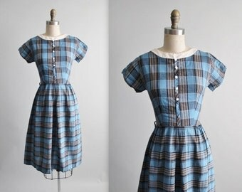 STOREWIDE SALE 50's Day Dress // Vintage 1950's Fitted Blue Plaid Cotton Fitted Secretary Day Dress S