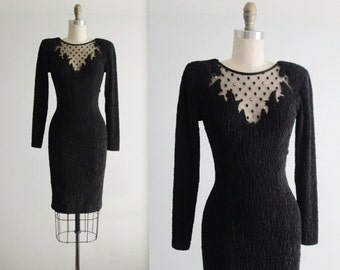 Vintage Body Con Dress // 80's Black Illusion Stretch Mesh Rhinestone Cut Out Illusion Body Con Dress XS