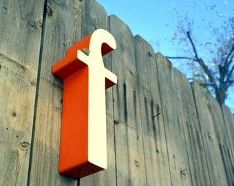 Vintage Metal Marquee Sign Letter Lowercase 'F': Large Orange & White Wall Hanging Initial -- Industrial Neon Channel Advertising Salvage