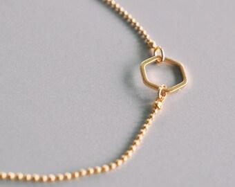 Gold Bracelet, Hexagon Bracelet, Arm Candy, Geometric Bracelet, Hexagon Bangle, Tiny Ball Bracelet, Rhombus, Geometric Cuff