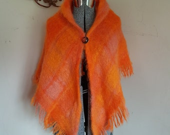 Vintage Orange Shawl Wool and Mohair With Lucie Scarf Pin