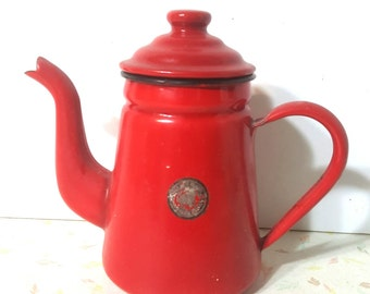 Vintage Red Enamel Kettle Child Size Toy Kettle Real Usable Tiny Kettle 3 .5 Cup